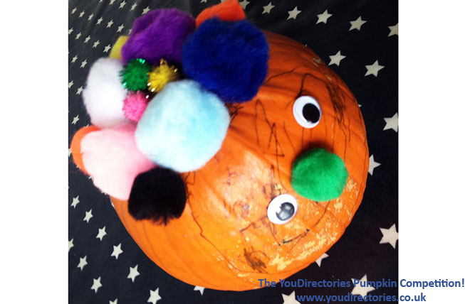 Petra created a colourful pumpkin with help from her 3-year old